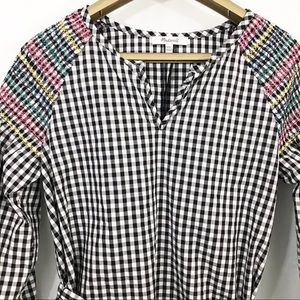Madewell Smocked Gingham Top Long Sleeves V Neck